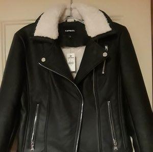 Black faux leather sherpa lines moto jacket